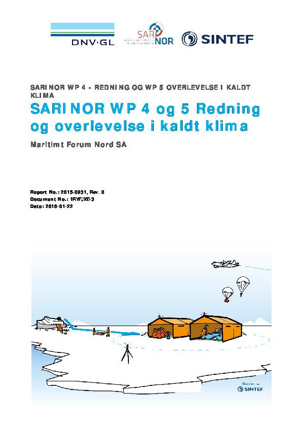 SARiNOR arbeidspakke 4 & 5: Redning og overlevelse i kaldt klima